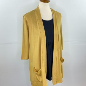 3/4 Sleeve Perfect Year-Round Cardigan in The Perfect Mustard