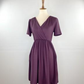 Favorite V-Neck Empire Waist Dress in Boysenberry