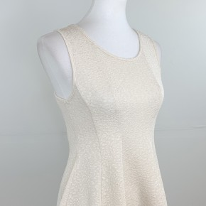 Sleeveless Glitter Fit & Flare Top in Cream
