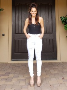 White Distressed Hi-Waist Double Button & Zipper  Stretchy Jean/Jeggings