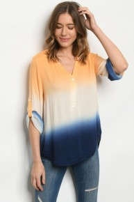 Orange & Navy Ombre Relaxed Fit Top