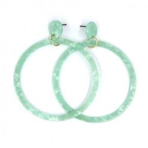 """Mint Acetate Hoop 3"""" Dangling Earrings"""