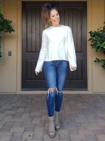 White Long Semi Bell Sleeve Soft Detailed Sweater