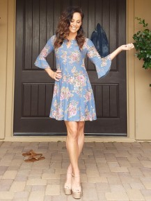 Blue with Muted Rose Print 3/4 Bell Sleeve Dress
