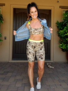 Taupe Snake Print & LIME Biker Short and Sports Bra Set