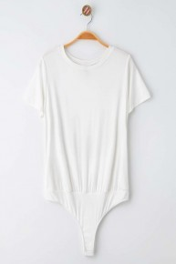 Ivory Short Sleeve Jersey Knit Thong Back Bodysuit