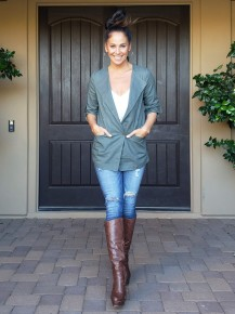 Olive Button Front Button Up Sleeve Cinch Back Jacket with Zipper Detailing
