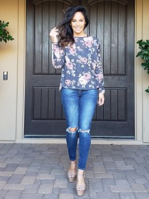 Charcoal & Rose Print Long Sleeve Round Neck Tunic with Crochet Detail