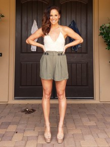 Olive Paper Bag High-Waisted Shorts
