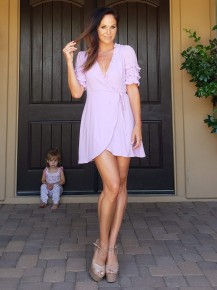 Lavender Ruffle Sleeve Wrap Dress
