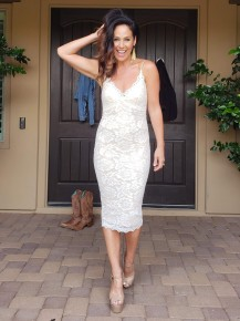 Ivory & Nude All Over Lace Scalloped V Neck Fitted Party Dress