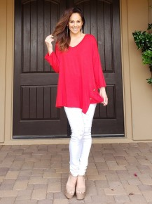 #CURVY #PLUS Red Jersey Knit Long Sleeve Top with Button Detail