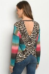 Teal Multi Color Stripe Tie Dye & Leopard Criss Corss Fancy Back Long Sleeve Jersey Knit Top