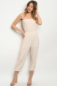 Cream Strapless Smock Waist Cropped Jumpsuit