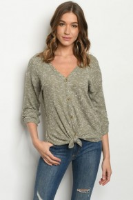 Olive Heathered Waffle Knit Button Down Tie Front Casual Top