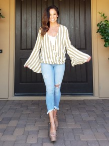 Olive Striped Open V Bell Sleeve Top