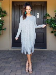 Grey Long Sleeve Scoop Neck Fringe Tea Length Tunic Dress.