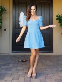 Light Blue Denim Puffy Sleeve Sweetheart Neckline Dress