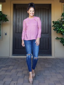 Mauve Long sleeve scoop neck Distressed light knit sweater