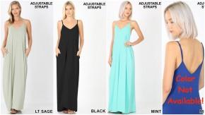 V-Neck Cami Maxi Dress with Adjustable Straps & POCKETS