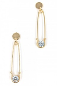 Gold Safety Pin CZ 2 inch drop earrings