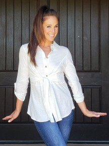 Off White Long Sleeve Button Down Belted Tunic