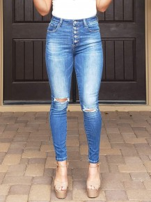 Medium Wash Button Down Ultra High-Rise Ripped Knee Skinny Jeans
