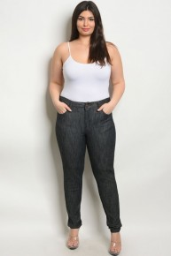#CURVY #PLUS Black Denim Elastic Waistband Skinny Stretch Jeans.