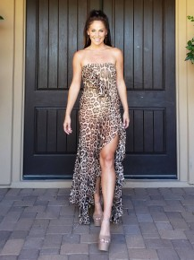 Leopard Strapless Semi Sheer Body Suite Maxi