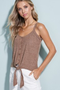 Ribbed Knit Front Tie Button Detail Tank
