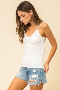 White Lettuce Edge Frilly Ribbed Cami Tank