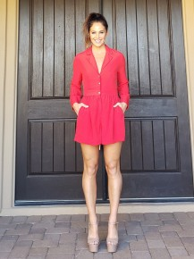 Red Linen Blend Long Sleeve Fitted Waist Pearl Button Romper