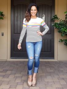 Ivory Multicolor Stripe Long Sleeve Top