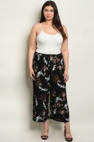 CURVY PLUS Black Floral & Bird Wide Leg Trousers