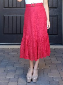 Red Belted Waist All Over Lace Midi Skirt