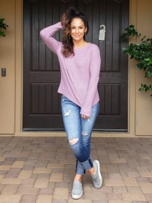 Lavender Long Sleeve Round Neck Knit Sweater