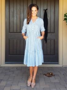 Blue & Grey Stripe 3/4 Sleeve V-Neck Loose Tunic Dress