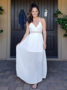 Ivory Sleeveless V-Neck Crochet Lace Back Maxi Dress