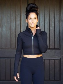 Black Fitted & Cropped Thumb Hole Athletic Zip Up Jacket