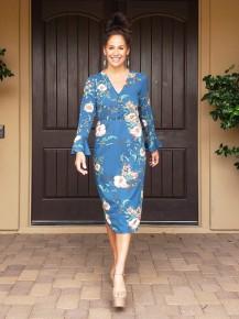 Teal Floral Long Bell Sleeve Button Detail V-Neck Tie Waist Tea Length Dress