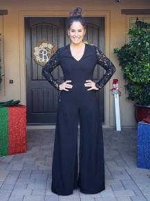 Black Lace Sleeve Jumpsuit