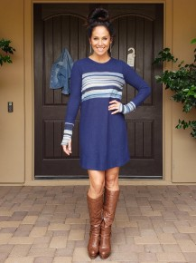 Navy Stripe Long Sleeve Knee Length Thumbhole Sweater Dress