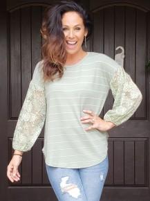 Sage Stripe Lace Bubble Sleeve Tunic Top