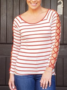 Off White & Red Stripe Lace Up Long Sleeve Top
