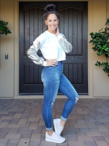 White  & Silver Sequin Long Sleeve Semi Cropped Top