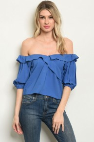 Blue Ruffled Off the Shoulder Semi-Cropped Blouse
