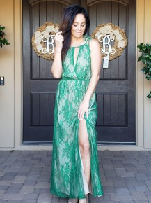 Green & Nude Sleeveless All Over Lace Maxi Dress