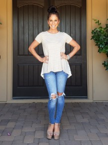 Taupe & White Stripe Lace Underlay Lace Up Back Tee
