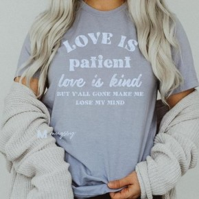 Heather Blue LOVE IS PATIENT (lose my mind) Distressed Ink Bella Canvas Tee