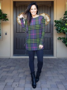 Charcoal, Green & Magenta Plaid Long Sleeve Tie Side Top